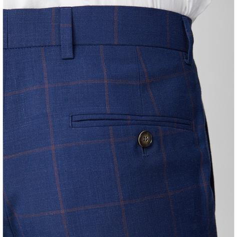 Gibson London Navy and Burgundy Windowpane Check Trousers Thumbnail 1