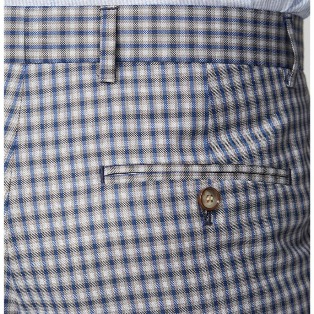 Gibson London Navy and Blue Gingham Check Trousers