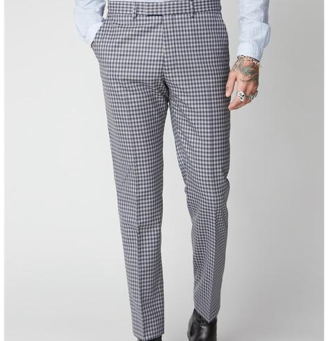 Gibson London Navy and Blue Gingham Check Trousers Thumbnail 2