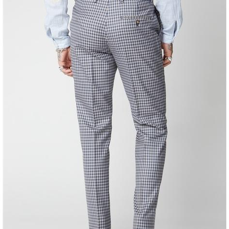 Gibson London Navy and Blue Gingham Check Trousers Thumbnail 3