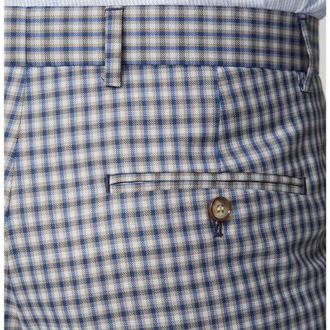 Gibson London Navy and Blue Gingham Check Trousers Thumbnail 1
