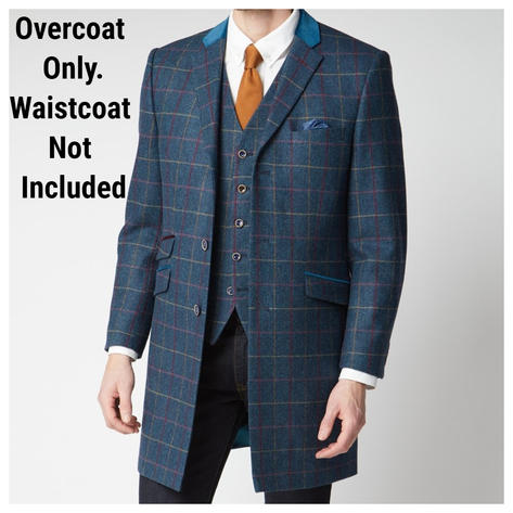 Scott Teal Blue Check Pure Wool Overcoat Thumbnail 1
