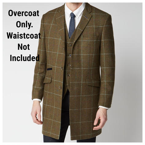 Scott Dark Olive and Duck Egg Check Pure Wool Overcoat