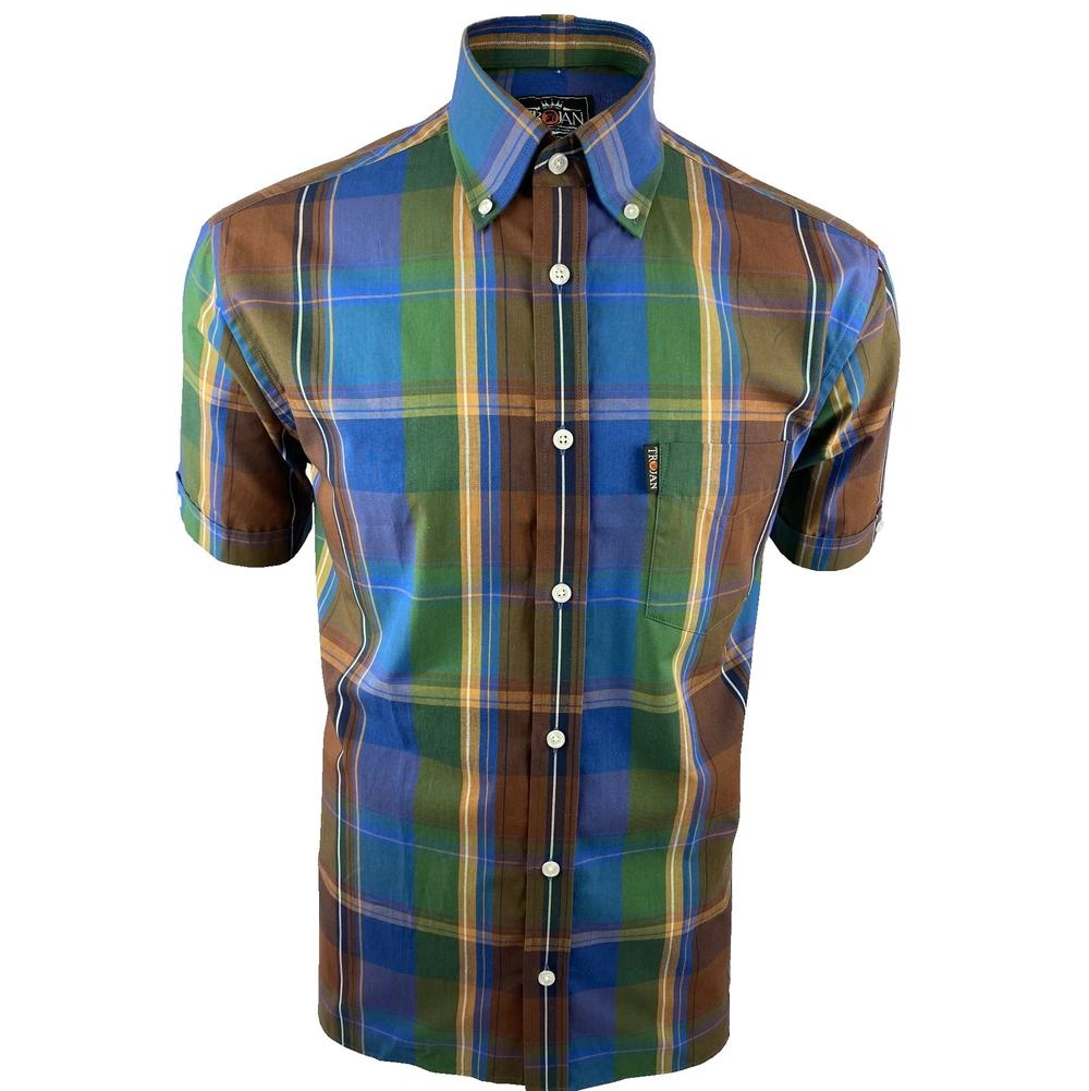 Trojan Records Cobalt Windowpane Check Shirt FREE Hanky