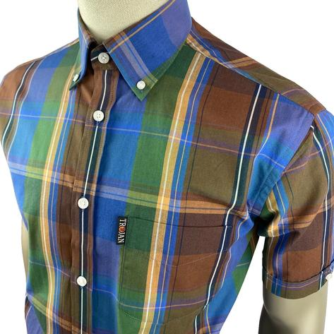 Trojan Records Cobalt Windowpane Check Shirt FREE Hanky Thumbnail 2