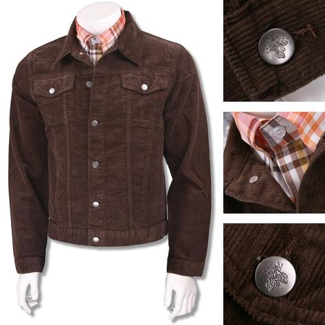 Run and Fly Mod Retro Trucker Jacket Corduroy Brown Thumbnail 2