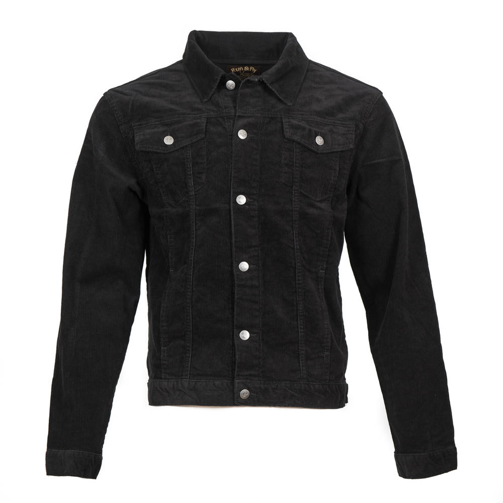 Run and Fly Mod Retro Trucker Jacket Corduroy Black