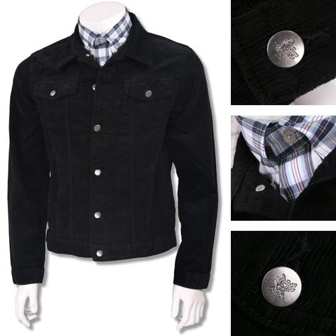 Run and Fly Mod Retro Trucker Jacket Corduroy Black Thumbnail 2