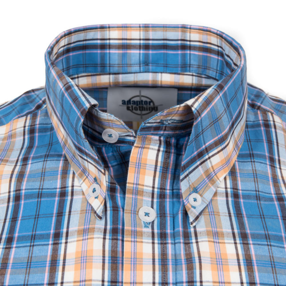 Adaptor Clothing Short Sleeve Spearpoint Collar Check Shirt Blue Bisc Pink