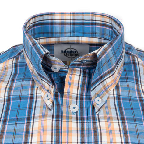 Adaptor Clothing Short Sleeve Spearpoint Collar Check Shirt Blue Bisc Pink Thumbnail 1