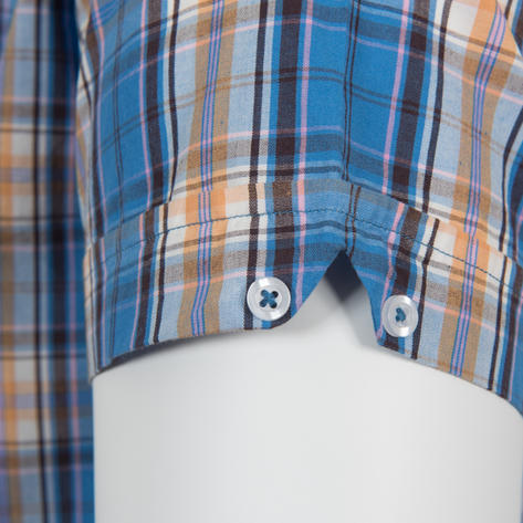 Adaptor Clothing Short Sleeve Spearpoint Collar Check Shirt Blue Bisc Pink Thumbnail 4
