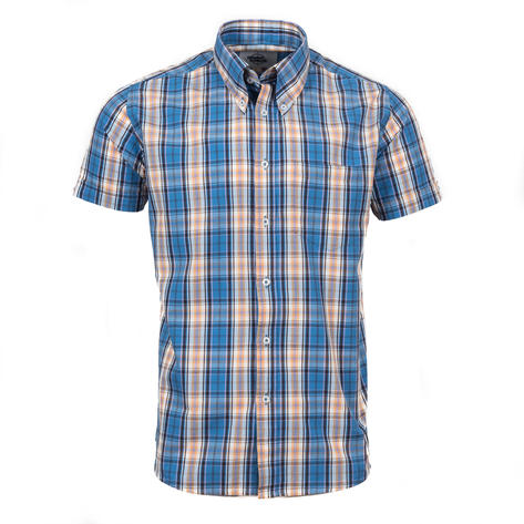 Adaptor Clothing Short Sleeve Spearpoint Collar Check Shirt Blue Bisc Pink Thumbnail 2