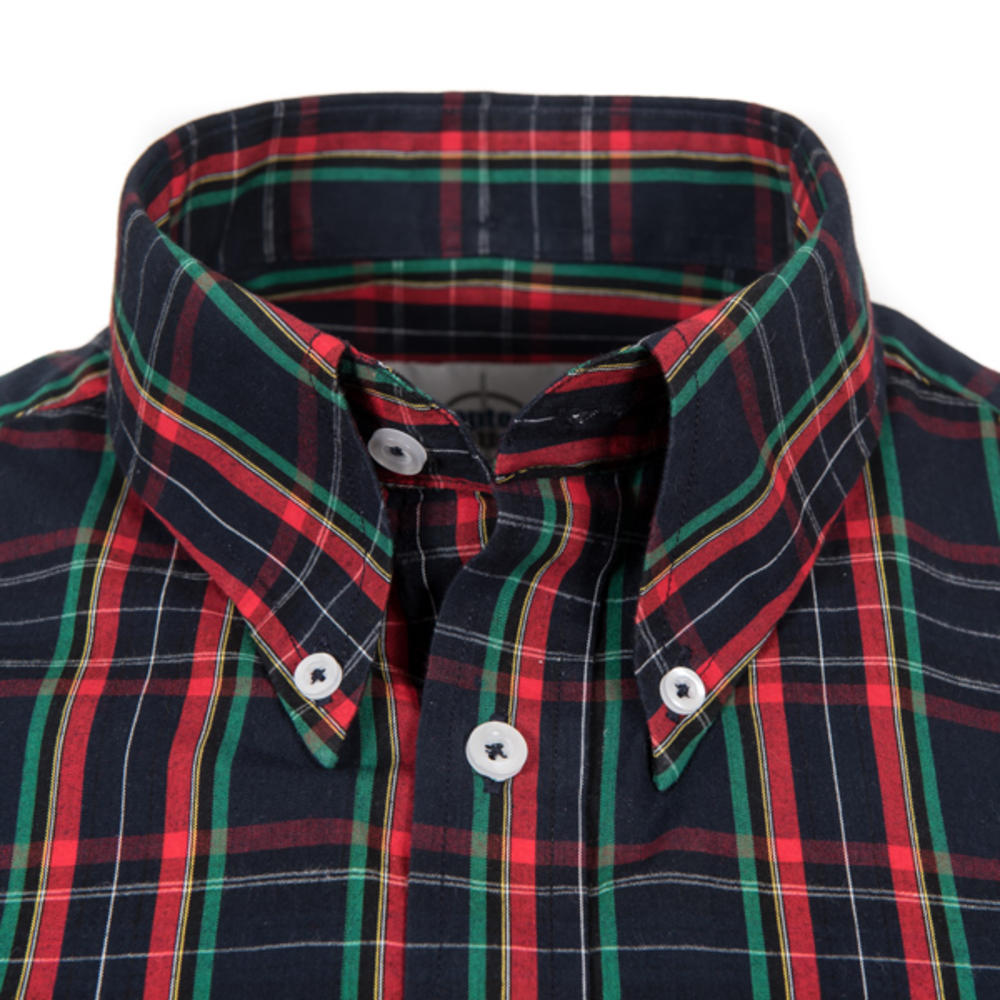 Adaptor Clothing Short Sleeve Spearpoint Collar Check Shirt Navy And Red