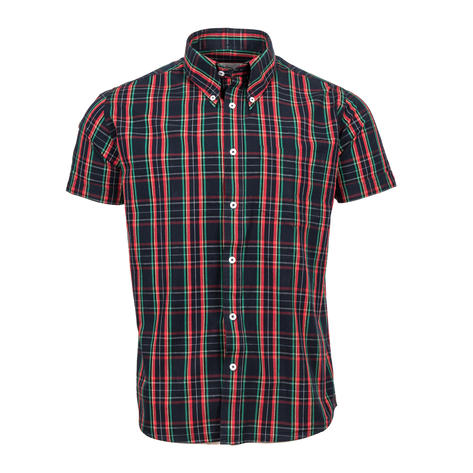 Adaptor Clothing Short Sleeve Spearpoint Collar Check Shirt Navy And Red Thumbnail 2