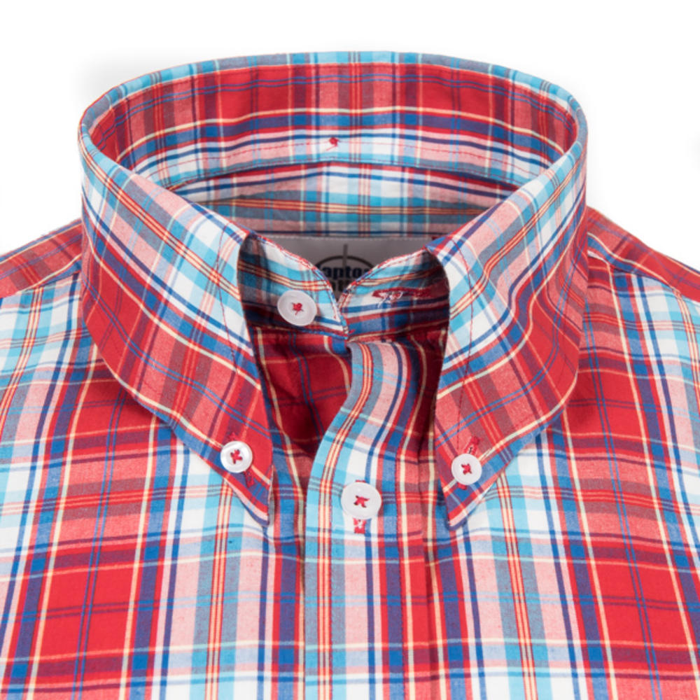 Adaptor Clothing Short Sleeve Spearpoint Collar Check Shirt Classic Red And Blue