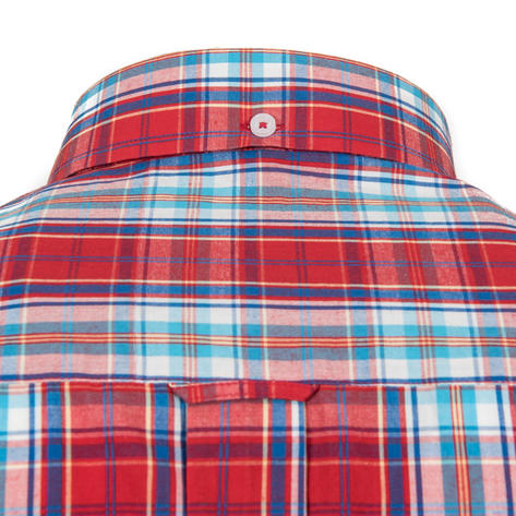 Adaptor Clothing Short Sleeve Spearpoint Collar Check Shirt Classic Red And Blue Thumbnail 3