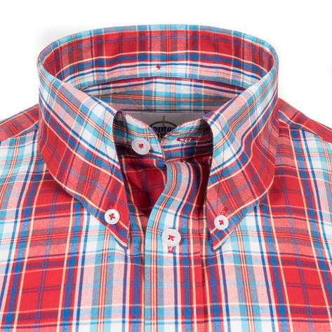 Adaptor Clothing Short Sleeve Spearpoint Collar Check Shirt Classic Red And Blue Thumbnail 1