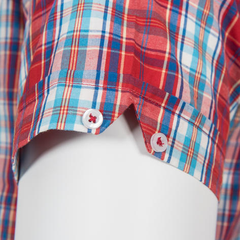 Adaptor Clothing Short Sleeve Spearpoint Collar Check Shirt Classic Red And Blue Thumbnail 4