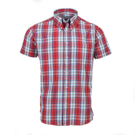 Adaptor Clothing Short Sleeve Spearpoint Collar Check Shirt Classic Red And Blue Thumbnail 2