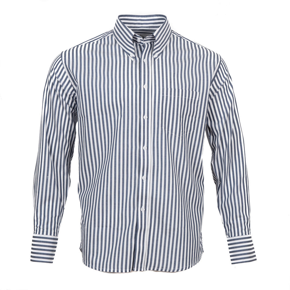 Adaptor Clothing L/S Spear Point Button Down Shirt Bengal Stripe Navy