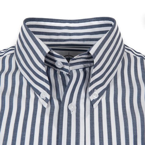 Adaptor Clothing L/S Spear Point Button Down Shirt Bengal Stripe Navy Thumbnail 2