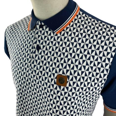 Trojan Records Diamond Panel Polo Navy Thumbnail 2