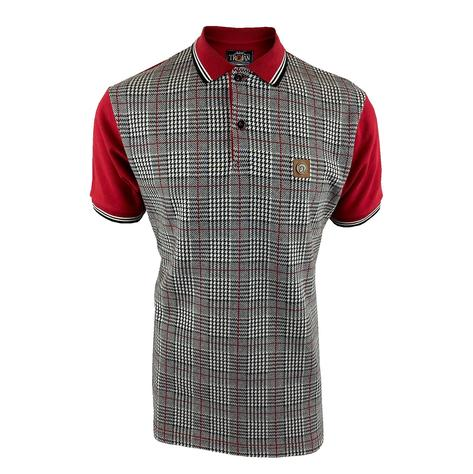 Trojan Records Prince Of Wales Check Panel Polo Deep Red