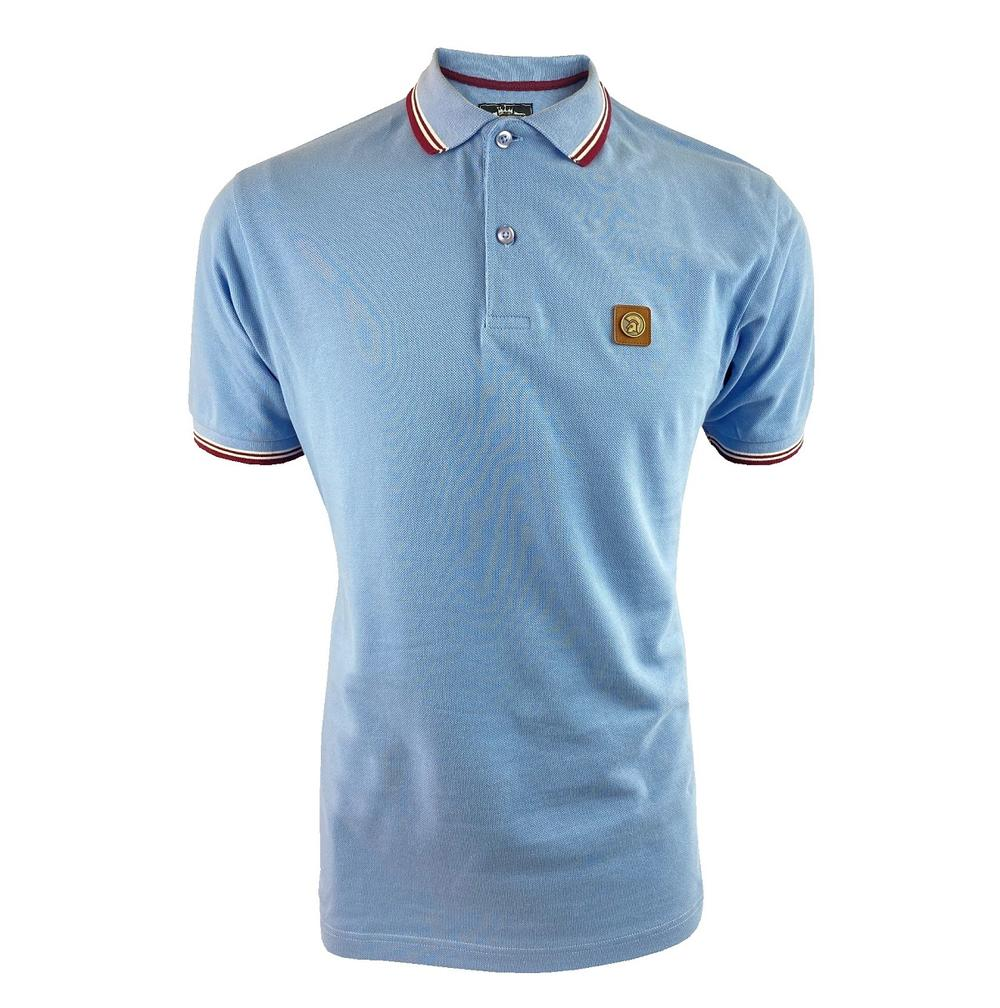 Trojan Records Metal Badge Polo Shirt Sky Blue