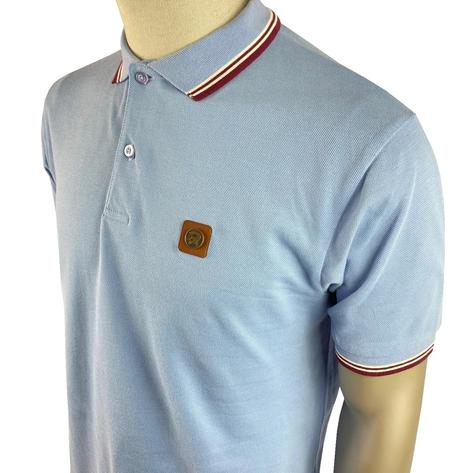 Trojan Records Metal Badge Polo Shirt Sky Blue Thumbnail 2