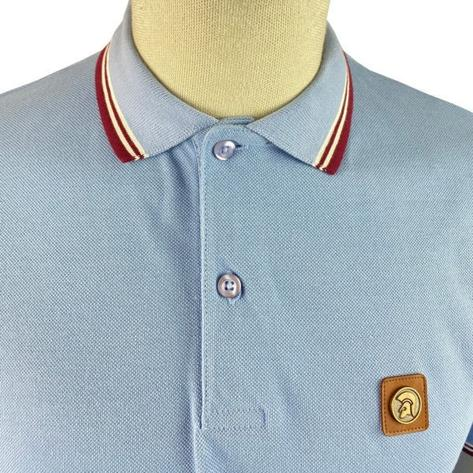 Trojan Records Metal Badge Polo Shirt Sky Blue Thumbnail 3