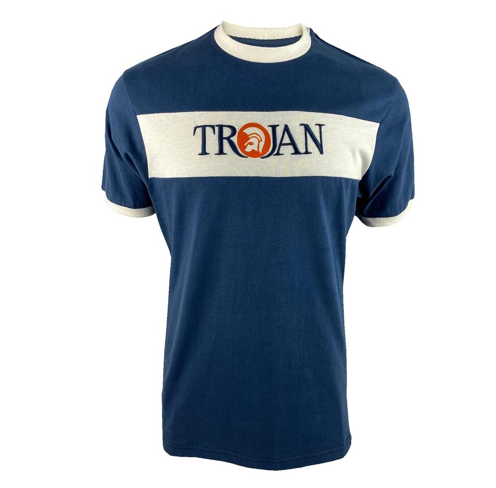 Trojan Records Embroidered Panel Logo T-Shirt Navy