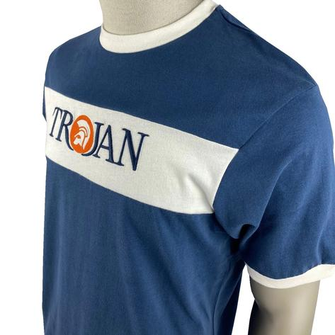 Trojan Records Embroidered Panel Logo T-Shirt Navy Thumbnail 2