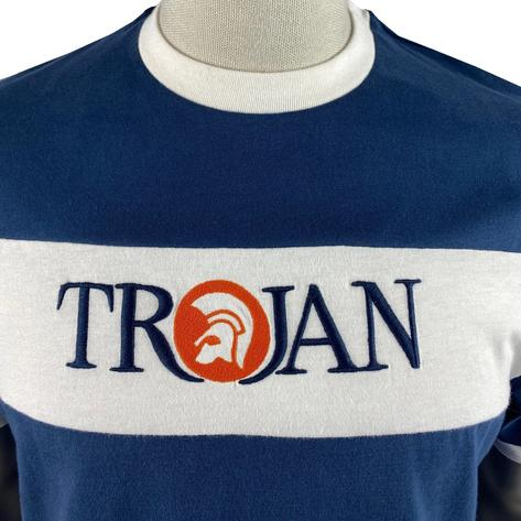 Trojan Records Embroidered Panel Logo T-Shirt Navy Thumbnail 3