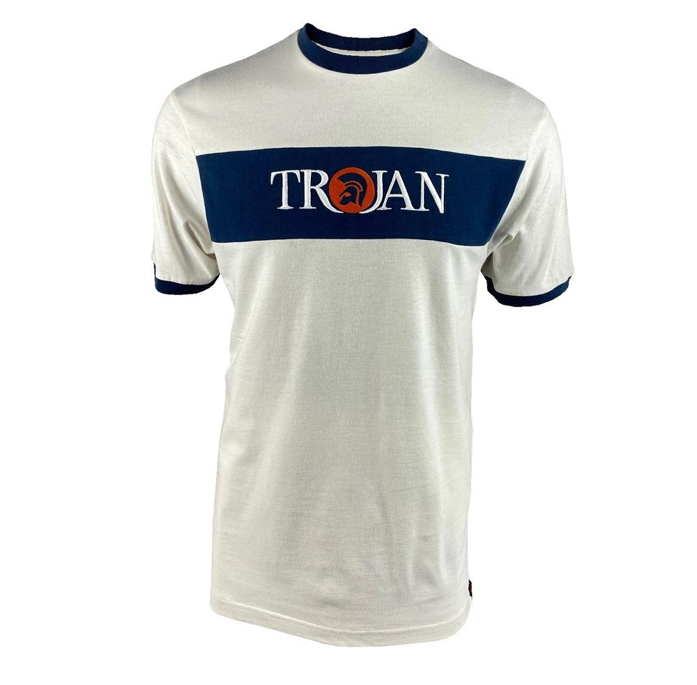 Trojan Records Embroidered Panel Logo T-Shirt Ecru