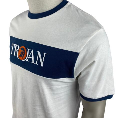 Trojan Records Embroidered Panel Logo T-Shirt Ecru Thumbnail 2
