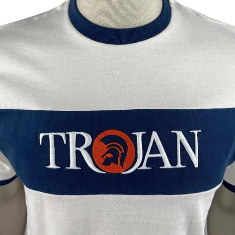 Trojan Records Embroidered Panel Logo T-Shirt Ecru Thumbnail 3
