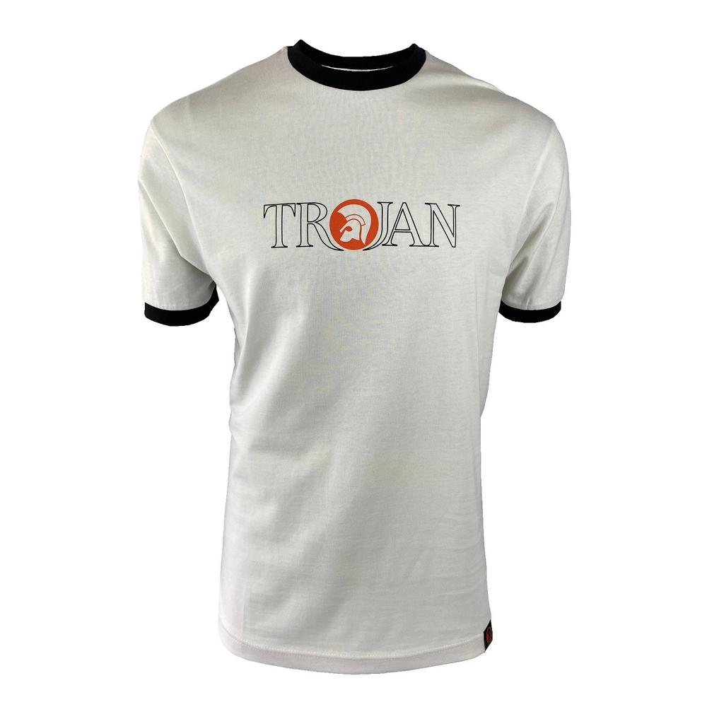 Trojan Records Outline Print Logo T-Shirt Ecru