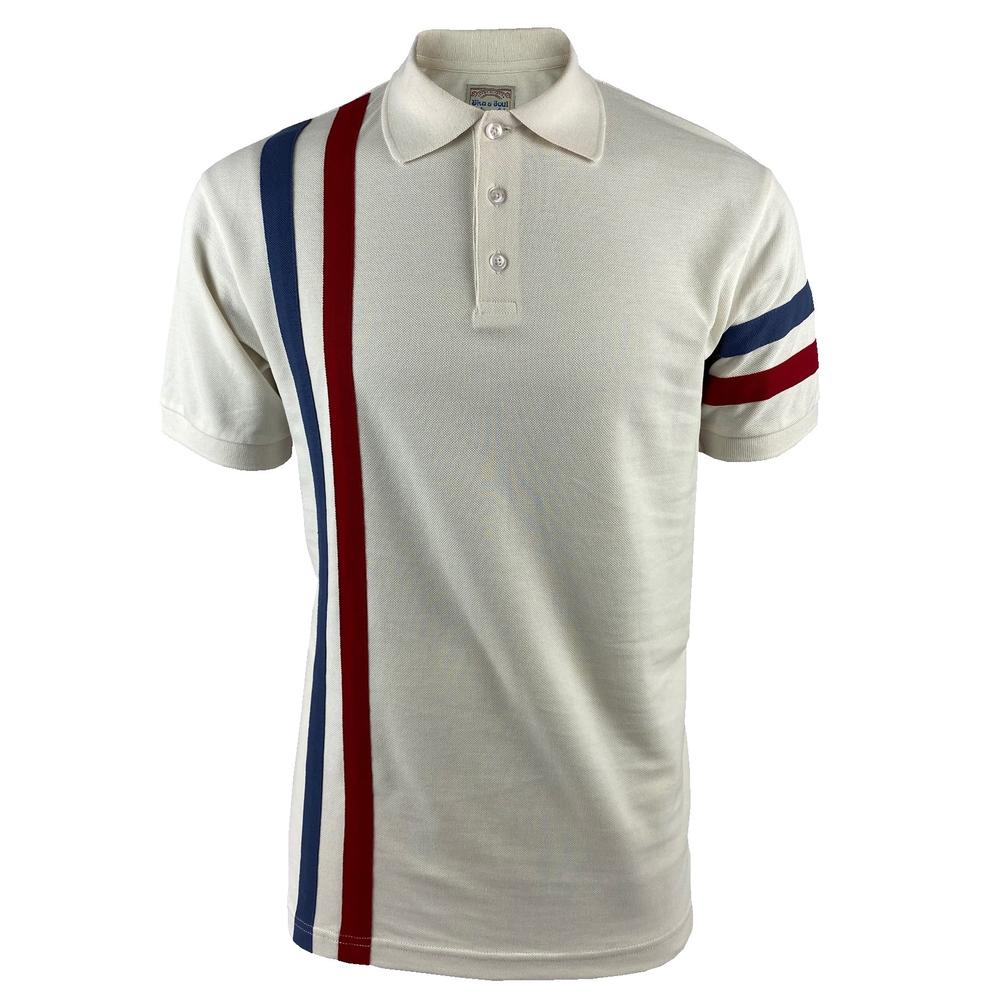 Ska & Soul Racing Stripe Pique Polo Shirt Ecru