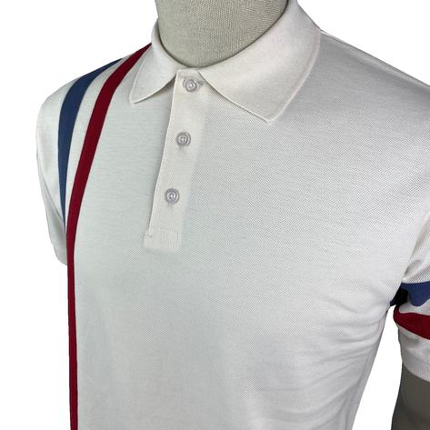 Ska & Soul Racing Stripe Pique Polo Shirt Ecru Thumbnail 2