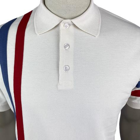 Ska & Soul Racing Stripe Pique Polo Shirt Ecru Thumbnail 3