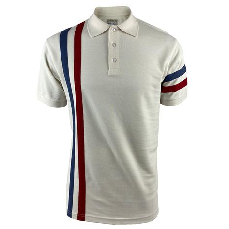 Ska & Soul Racing Stripe Pique Polo Shirt Ecru Thumbnail 1