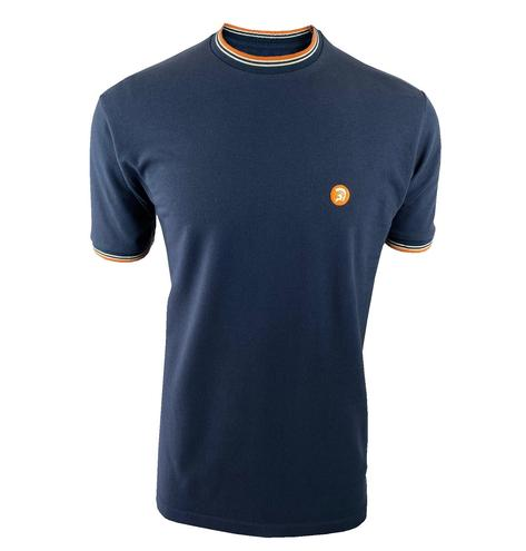 Trojan Records Mens Retro Multi Tipped Ringer T-Shirt Navy