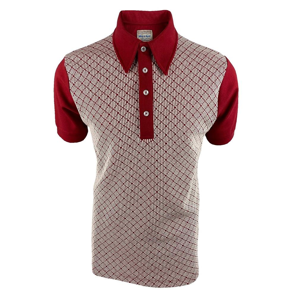 Ska & Soul Jacquard Diamond Panel Polo Shirt Deep Red
