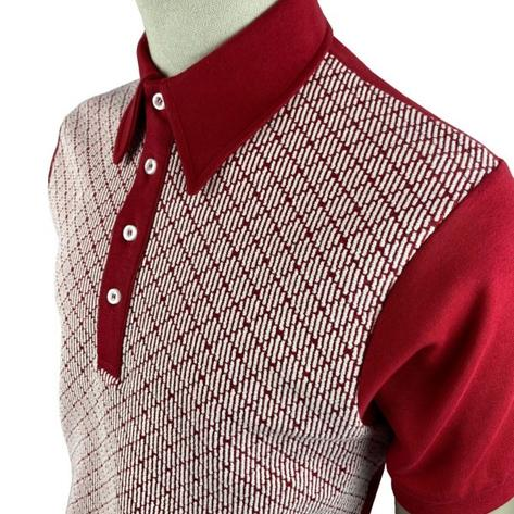 Ska & Soul Jacquard Diamond Panel Polo Shirt Deep Red Thumbnail 2