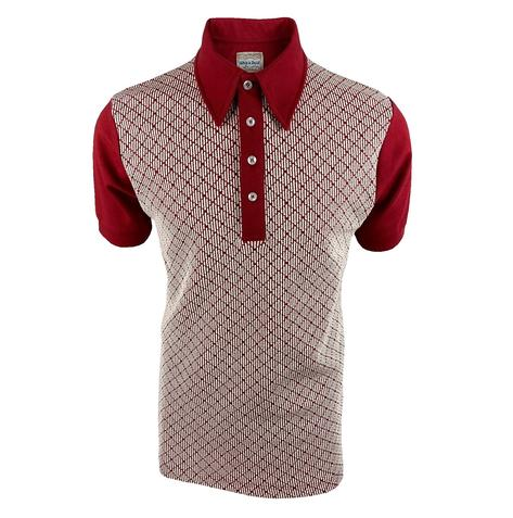 Ska & Soul Jacquard Diamond Panel Polo Shirt Deep Red Thumbnail 1