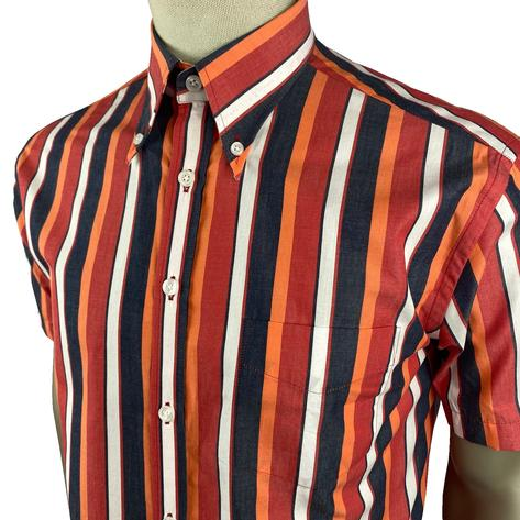 Ska & Soul Short Sleeve Spearpoint Collar Stripe Shirt Red Thumbnail 2
