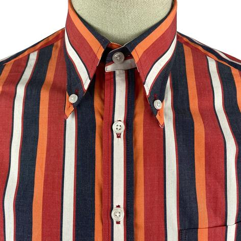 Ska & Soul Short Sleeve Spearpoint Collar Stripe Shirt Red Thumbnail 3