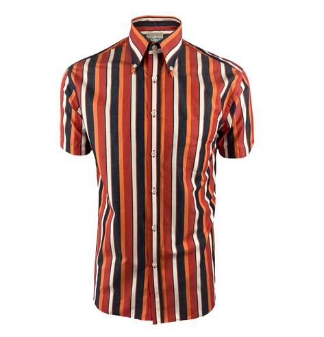 Ska & Soul Short Sleeve Spearpoint Collar Stripe Shirt Red Thumbnail 1