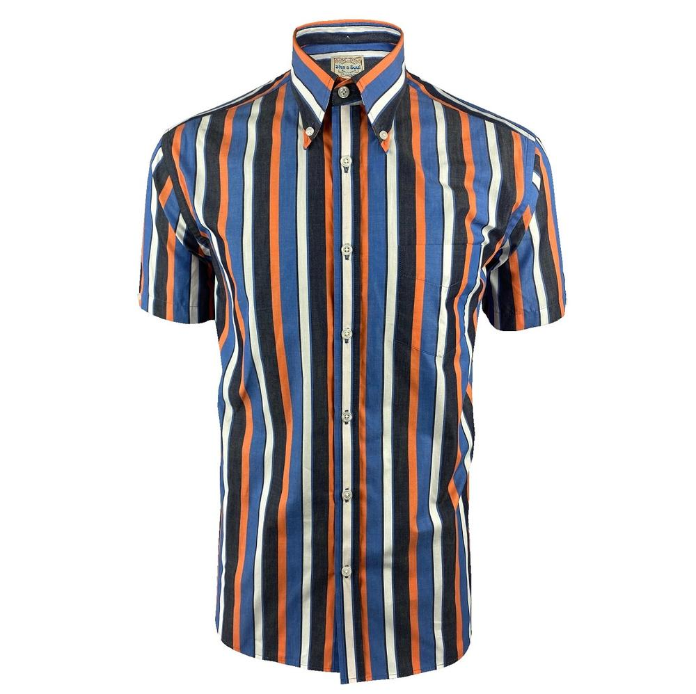 Ska & Soul Short Sleeve Spearpoint Collar Stripe Shirt Navy