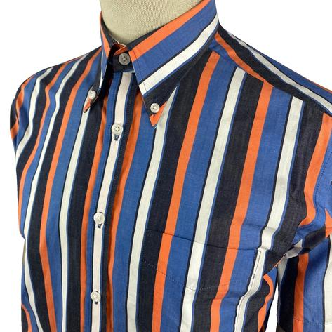 Ska & Soul Short Sleeve Spearpoint Collar Stripe Shirt Navy Thumbnail 2
